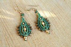 macrame earrings turquoise and gold long by yasminsjewelry on Etsy