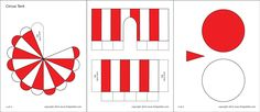 Red and white circus tent template Carnival Themed Party, Carnival Themes, Circus Theme, Circus Tents, Carnival Parties, Carnival Costumes, Tent Craft, Diy Tent, Templates Printable Free