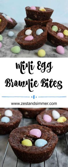 Mini Egg Brownie Bites Mini Egg Brownie Bites - Loaded with Mini Eggs, everyones favourite Easter candy, these chocolatey brownie bites are super cute and are a perfect yummy springtime or Easter trea No Egg Desserts, Desserts Ostern, Easy Desserts, Dessert Recipes, Dip Recipes, Appetizer Recipes, Recipes Dinner, Easter Candy, Easter Treats