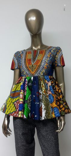 Multi Colored African Print Empire Waist by NanayahStudio on Etsy