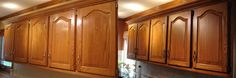 My Golden Oak Cabinet Kitchen Remodel.  Darkened with Glaze and took the gloss sheen down to satin.  Huge difference!