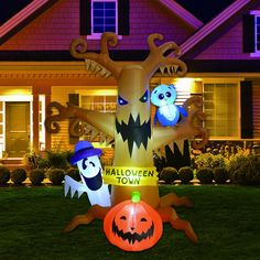 8 Foot Dead Tree with Owl, Halloween Inflatables Ghost and Pumpkin Lights Decor Halloween Blow Ups, Outdoor Halloween, Halloween Ghosts, Halloween Night, Haunted Tree, Halloween Ghost Decorations, Sally Nightmare Before Christmas, Halloween Inflatables, Ghost Pumpkin