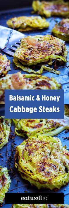 Roast cabbage steaks and top them with sweet-salty honey-balsamic sauce for a colorful, flavorful, and super-easy side dish.