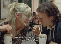 We are the coolest people at McDonald's Series Quotes, Film Quotes, Art Qoutes, Indie Quotes, Grunge Quotes, Heath Ledger, Movie Lines, Quote Aesthetic, Pink Aesthetic