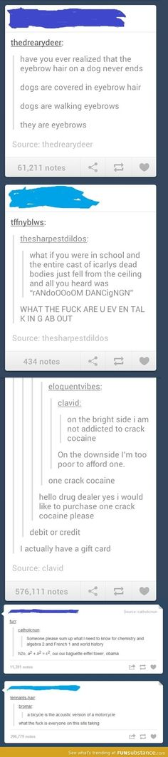 Sometimes tumblr is really uplifting and deep, then other times...it's on one crack cocaine.