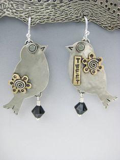 Silver Bird Earrings Bird Earrings German by riverpathstudio, $46.00
