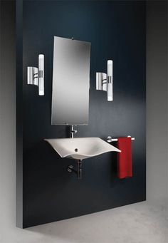 Bathroom: 29 Comfortable Contemporary Bathrooms Design Collections, Pretty Slim Sink And Tall Mirror On Elegant Blue Wall Units For Your Bathroom Furnitures Idea Contemporary Bathroom Sinks, Bathroom Sink Design, White Vanity Bathroom, Bathroom Sink Faucets, Bathroom Styling, Washroom, Bathroom Remodeling, Bathroom Interior, Small Bathroom