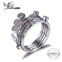 Jewelrypalace hart liefde anniversary engagement wedding band 4 ring sets real 925 sterling zilveren sieraden gift voor moederdag