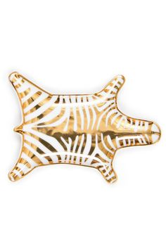 "Gold Carnaby Zebra Stacking Dish. Safari Chic. Our mini-homage to the Majestic Zebra. Made from porcelain with a bold zebra print the perfect pop of graphic glamour for any bedside bathroom or table setting. Not microwave safe. Top rack dishwasher safe.  Measures: 6"" x 4"" x 0.5""  Zebra Stacking Dish by Jonathan Adler. Home & Gifts - Home Decor - Decorative Objects Rhode Island"