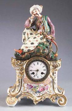 Antique Paris Porcelain Figural Mantel Clock