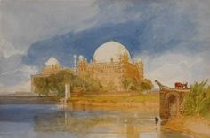 Artwork by John Sell Cotman, Sultan Mahamed Shah's Tomb, Bejapore, India, Made of Watercolour  over  pencil,  heightened  with  bodycolour  and  stopping  out