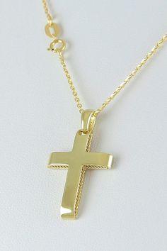 Χρυσός σταυρός βάπτισης με αλυσίδα - 14Κ - αγόρι