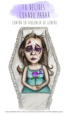 Violencia de Género. Gender Violence Illustration in watercolor and ink technique by Andreina Ayala.  http://www.ilustracion.com.ve/