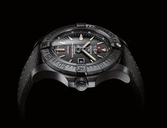 Black on black, the new Avenger Blackbird by Breitling has been designed to be a companion on the most extreme missions. With a generous 48 mm case, this model features a slimmer and ever more ergonomic profile, extended by inward curving lugs. Wearer comfort is enhanced by the light feel of the titanium and a military-style fabric strap. The oversized hands and hour-markers ensure optimal legibility in all situations, including in the dark thanks to the luminescent coating that stands out…
