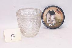 Vintage Ball Jelly Glass Painted Lid Primitive Folk Art White Saltbox F Rjpe | eBay