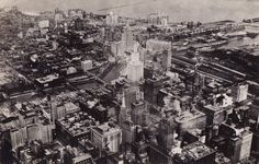 Aerial looking north across the river, 1933, Chicago