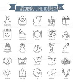 Wedding Line Icons by _human 25 Wedding line icons, can be used for Valentine's day Features: - 25 Line Icons - Editable Stroke Width and live text (Ai file) Wedding Icons, Wedding Symbols, Wedding Music, Wedding Cards, Wedding Invitations, Wedding Logos, Doodle Icon, Sketch Notes, Wedding Timeline