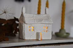 handmade, cottage, junkaholique, DIY, craft, christmas, decor, lace, clay, light