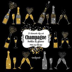 A personal favourite from my Etsy shop https://www.etsy.com/uk/listing/260250619/champagne-clipart-bottles-glasses