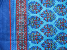 Block Print Stamped Fine Cotton Sari Border Fabric in Blue Sold by Yard