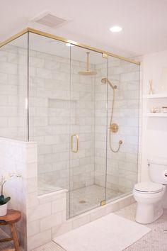 Master Bathroom Shower, Gold Bathroom, Bathroom Layout, Bathroom Wall Decor, Bathroom Styling, Bathroom Interior Design, Marble Bathrooms, Bathroom Ideas, Bathroom Showers