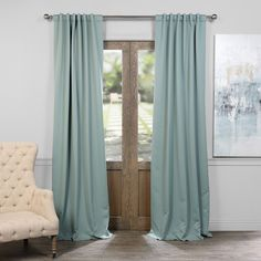 EFF 2 Pack Blackout Curtain Blue