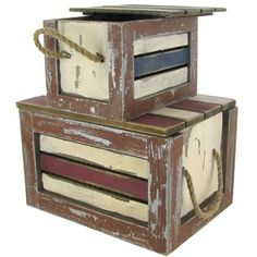 Set of Wood Nautical Boxes with Rope Handles | Shop Hobby Lobby
