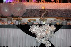 Wedding, head table, desert table, linens, wedding decor, wedding decorations, flowers, elegant events, wedding white and black, fabric flowers, risers, lights, beautiful wedding. Also on Facebook as Elegant Events Party Rentals  www.weddingrentalsonline.com
