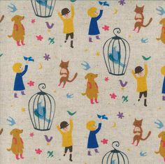 Yuwa - Kei Fabrics - Bird Cage - | The Fabric Stash $16/yard, cotton/linen