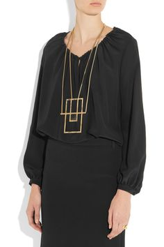 Saint Laurent | Opium gold-plated onyx necklace  | NET-A-PORTER.COM
