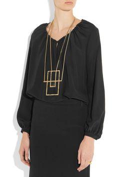 Saint Laurent | Opium gold-plated onyx necklace | NET-A-PORTER.COM