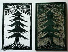How to Make a Christmas Tree Linocut Print