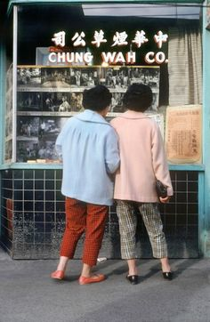 Two Women in Coats, Chinatown, Vancouver 1968 by Fred Herzog Color Photography, Film Photography, Street Photography, Fashion Photography, Cityscape Photography, Documentary Photography, White Photography, Landscape Photography, Nature Photography
