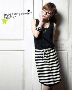 Stripe dress - 38311  USD $9.20