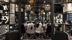 innermost BEADS penta pendant lights in chrome at Gaucho (Piccadilly) Restaurant  http://www.innermost.net/wp/beads