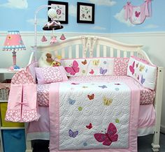 Soho Pink dancing butterflies Baby Crib Nursery Bedding Set 14 pcs included Diaper Bag with Changing Pad & Bottle Case SoHo Designs http://www.amazon.com/dp/B00FGVOWYI/ref=cm_sw_r_pi_dp_GjQcwb087H6C6