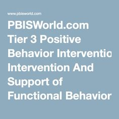 PBISWorld.com Tier 3 Positive Behavior Intervention And Support of Functional Behavior Assessment (FBA)