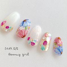 Pretty Nail Designs, Nail Art Designs, Sculpted Gel Nails, Floral Nail Art, Japanese Nail Art, Feet Nails, Types Of Nails, Gel Nail Art, Flower Nails