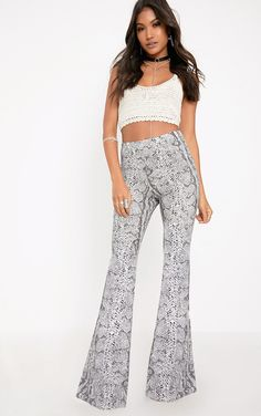 Madilyn Snake Print Flared Trousers