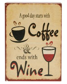 'Coffee Wine' Sign Wall Décor @VinoPlease #VinoPlease