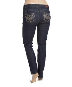 Another great find on #zulily! Dark Indigo Embroidered-Pocket Jeans - Plus #zulilyfinds