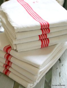 Soft White French Linen Torchons by SundayBrocantes on Etsy