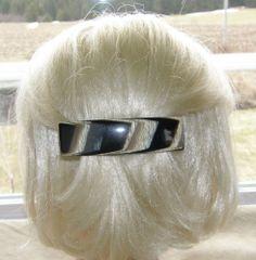 "VTG HAIR CLIP GRIP BARRETTE HEAD PIECE LUCITE PLASTIC LAMINATED LARGE 4"" FRANCE 35$"
