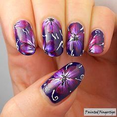 Magenta One-Stroke Flowers | Painted Fingertips