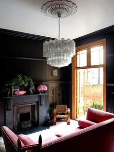 designer Micheal Minns' home 47 Park Avenue, love the dark walls and the pink