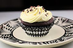 The Devil's Food Advocate: Dark Chocolate Cupcakes with White Chocolate Frosting