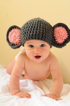 Baby Elephant Handmade Crochet Hat  Newborn by TicklebelleBoutique