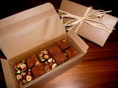 Mini brownies in a box