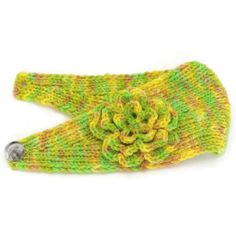 Hand Dyed Yellow Green and Orange Knitted Ear by PlaysWithString42, $35.00