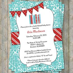 Bring a Book Baby Shower Invite with banner, Baby shower invitation, printable, digital file. $13.00, via Etsy.